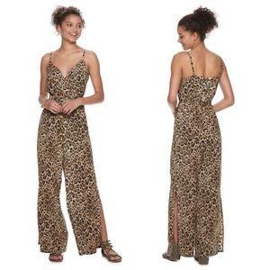 As You Wish Leopard Print V-neck Jumpsuit